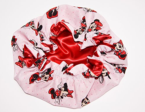 Price comparison product image HANDCRAFTED RED Reversible Kids and toddlers SATIN BONNETs are lined with DISNEY MINNIE MOUSE Fabric (MADE IN USA) (KIDS MINNIE MOUSE, RED)