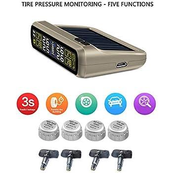 Internal Sensor, Black Color : TPMS Sistema de Monitoramento de Pressão Dos Pneus do carro T881 Energia Solar 6-em-1 Preciso Monitor Automático Conexão Sem ...
