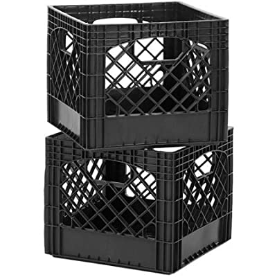 (2 Pack) Sturdy Stackable Classic Milk Storage Crate Features Hand-Holds On All 4 Sides For Easy Carrying, Ideal For The Garage, Basement, Dorm Or Rv