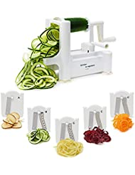 Spiralizer Vegetable Slicer - Best 5 Blade Heavy Duty Spiral Slicer, Zoodle Keto Pasta Maker, Shredder! Makes Zucchini Noodles, Veggie Spaghetti, and Cut Vegetables in Minutes. Includes Blade Storage Box!