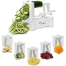 Spiralizer Vegetable Slicer - Best 5 Blade Heavy Duty Spiral Slicer, Zoodle Keto Pasta Maker, Shredder! Makes Zucchini Noodles, Veggie Spaghetti, and Cut Vegetables in Minutes. Includes Blade Storage Box!