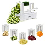 5 Blade Spiralizer - Spiral Slicer, Vegetable Maker, Shredder ! Makes Zucchini Noodles, Veggie Spaghetti, Pasta, and Cut Vegetables in Minutes. Includes Blade Storage Box!