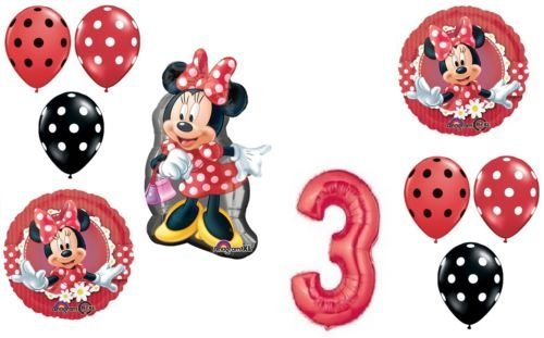 LoonBalloon MINNIE MOUSE Figure Red Bow Polka Dots #3 Birthday PARTY Mylar Latex BALLOON