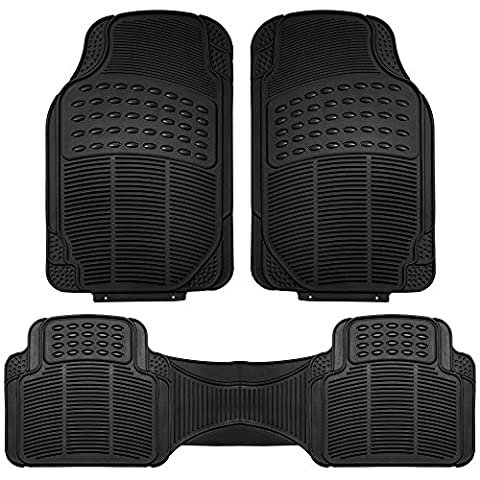 FH Group F11306BLACK black All Weather Floor Mat, 3 Piece (Full Set Trimmable Heavy Duty) (Vw Jetta Floor Mats 2010)