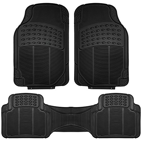 FH Group F11306BLACK black All Weather Floor Mat, 3 Piece (Full Set Trimmable Heavy Duty) (Best Waterproof Car Floor Mats)