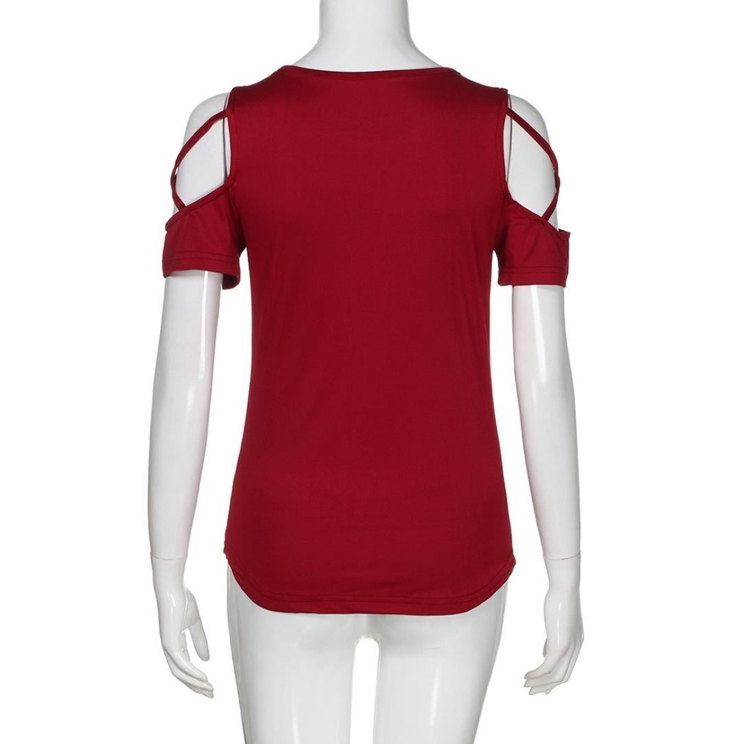 243033d600f85 ❤️xinantime Verano Sin Corta Mujer Manga Camiseta Algodón Hombros Fiesta  Camisetas Rq6xSvUOnw