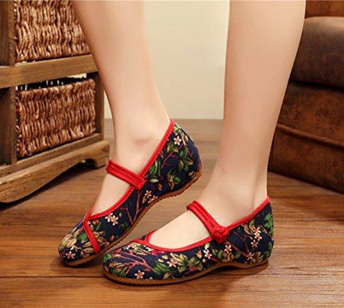 AvaCostume Womens Flower Print Flats Vintage Mary Jane Dress Shoes Blue ISl5N