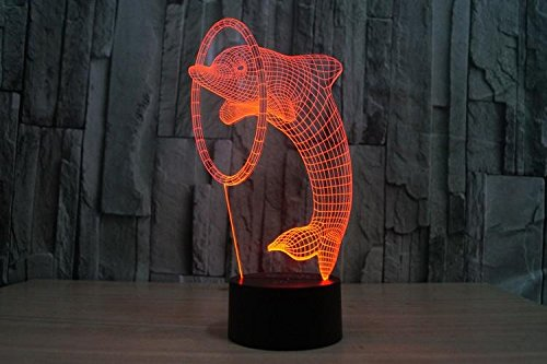 Price comparison product image 3D LED touch light / colorful gradient lamp / 3D / strange new stereo lights colorful Dolphin lamp