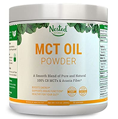 100% C8 MCT OIL POWDER 454g | ZERO Net Carb (Keto Diet Friendly) Medium Chain Triglycerides + Prebiotic Acacia Fiber for Energy Boost and a Healthy Gut | Mix in Bulletproof Coffee & Smoothies | 16 oz from Nested Naturals
