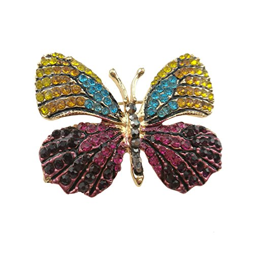 Dress Brooch Butterfly (Fashion Exquisite Insect Themed Winged Butterfly Crystal Rhinestones Brooch Pin Breastpin for Clothes Collar Dress Scarf Decoration)