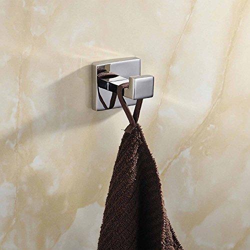 ThinkTop 5pcs Luxury 304 Stainless Steel Bathroom Single Towel Hook Robe Chrome Wall Mount Coat Hat Door Hook Hanger Mirror Polished Bathroom Accessories by ThinkTop (Image #1)