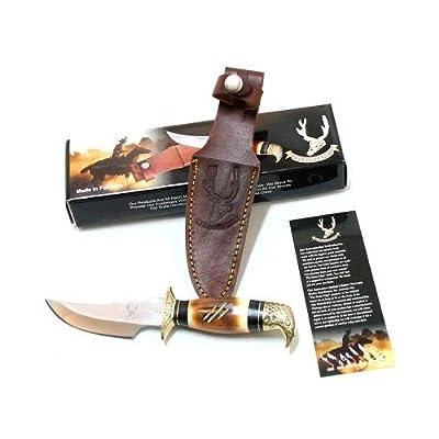 8' Bone Edge Eagle Head Steel Hunting Knife with Sheath W5651