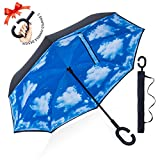 : ZOMAKE Double Layer Inverted Umbrella Cars Reverse Umbrella, UV Protection Windproof Large Straight Umbrella for Car Rain Outdoor With C-Shaped Handle