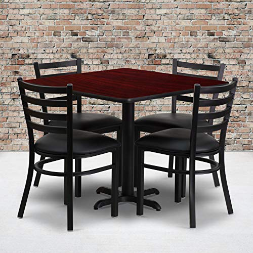Wholesale Tables Chairs - Flash Furniture 36'' Square Mahogany Laminate Table Set with 4 Ladder Back Metal Chairs - Black Vinyl Seat
