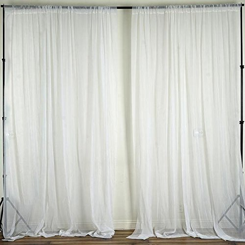 Tableclothsfactory 10FT Fire Retardant White Sheer Voil Curtain Panel Backdrop - Premium Collection