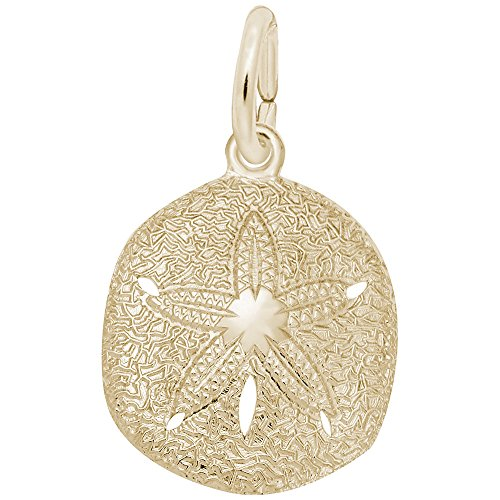 14k Gold Sand Dollar Charm - Rembrandt Charms, Sand Dollar, 22k Yellow Gold Plated Silver