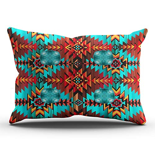 (MUKPU Custom Home Decoration Throw Pillowcase Cushion Cover Aqua Turquoise and Brown Western Tribal Navajo Leather Print King 20X36 Inches One Side Design (Set of 1))