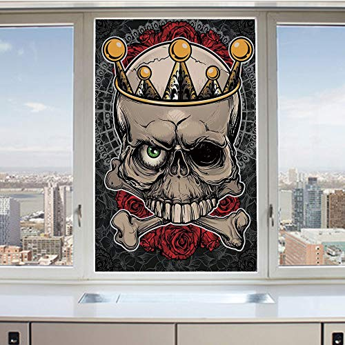 3D Decorative Privacy Window Films,Skull with Crown Roses Bones Dead King Halloween Illustration,No-Glue Self Static Cling Glass Film for Home Bedroom Bathroom Kitchen Office 24x36 Inch ()