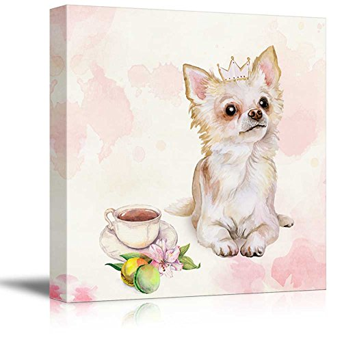 Square Dog Series Watercolor Style Painting of a Mexican Breed Chihuahua