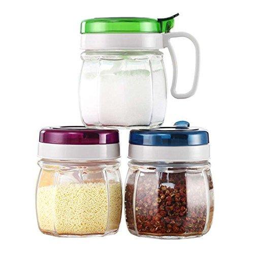 HLL Seasoning Bottle Glass Seasoning Jar Set Kitchen Household Condiment Bottles Containing Oil Can Leak Salt Vinegar Bottle (3 Pack)