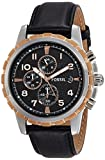 Fossil Men's FS4545 Black Leather Strap Black Analog Dial Chronograph Watch