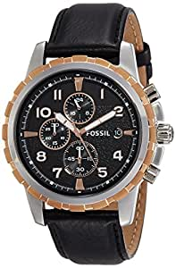 Fossil FS4545 - Reloj cronógrafo de cuarzo para hombre con correa de piel, color negro