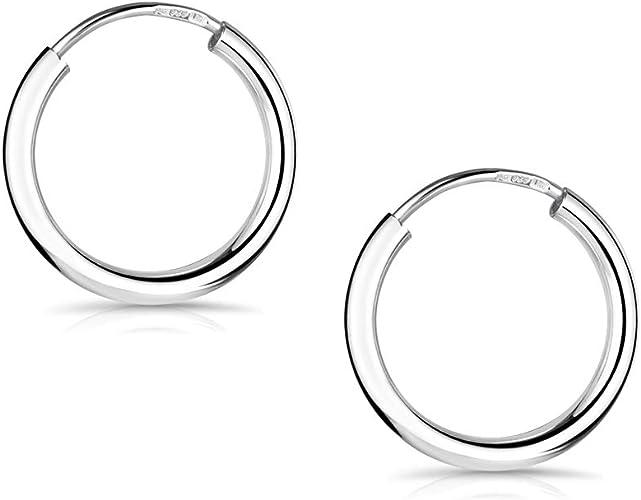 Rund Damen Creolen Creole NEU Kreis 925er Silber Silber Ohrringe 925