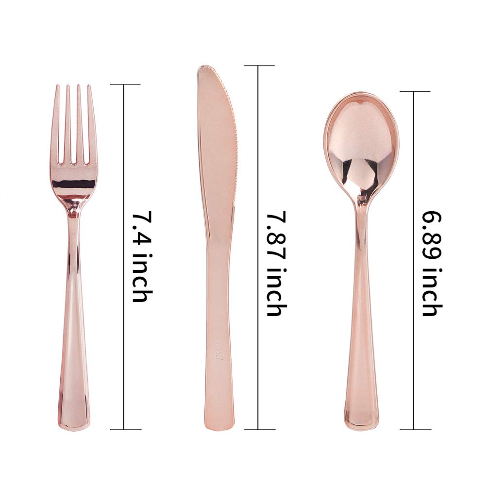 160 piece rose gold heavyweight disposable cutlery set plastic silverware ebay. Black Bedroom Furniture Sets. Home Design Ideas