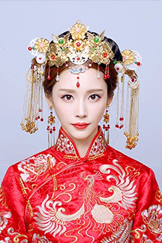 Semi Classical Costume (Generic Costume bridal headdress costume hairpin makeup kit Classical Chinese dragon and phoenix gown dress Xiu He married step shake with jewelry)