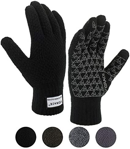 TRENDOUX Winter Gloves for Men and Women Upgraded Touch Screen Anti-Slip Silicone Gel Elastic Cuff Knit Stretchy Material Thermal Soft Wool Lining