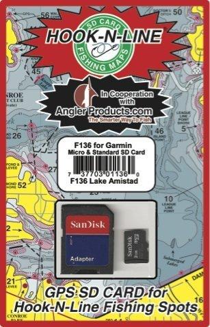 Hook N Line Lake Amistad GPS Map SD Card with Fishing Hotspot Locations - Garmin