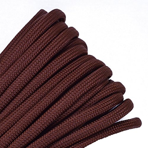 BoredParacord - 1', 10', 25', 50', 100' Hanks & 250', 1000' Spools of Parachute 550 Cord Type III 7 Strand Paracord WELL Over 300 Colors - Chocolate Brown - 50 Feet