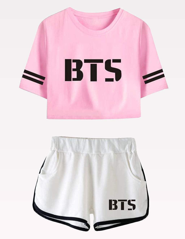 BTS Shirt and Short Set Outfit Set T-Shirt and Shorts Short Sleeve Crop Top Tee T-Shirt Suit JIN SUGA Jimin V Jungkook JHOPE