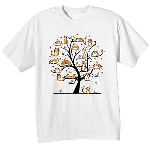 WHAT ON EARTH Women's Cats Family Tree T-Shirt - (Family Short Sleeve Tees)
