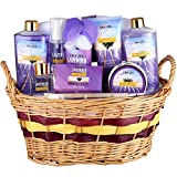 "Large Luxury ""Complete Spa at Home Experience"" Gift Basket for Women by Draizee – #1 Best Gift for Valentine's Day - Skin Care Set with Lotions, Creams, Bath Bombs & More (Lavender Deluxe Bath Set)"