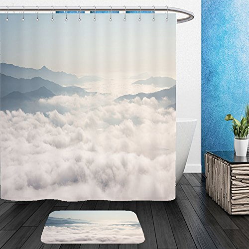 Fog Machine Toronto (Vanfan Bathroom 2?Suits 1 Shower Curtains & ?1 Floor Mats fog and cloud mountain valley landscape in seoul south korea 322713731 From Bath room)