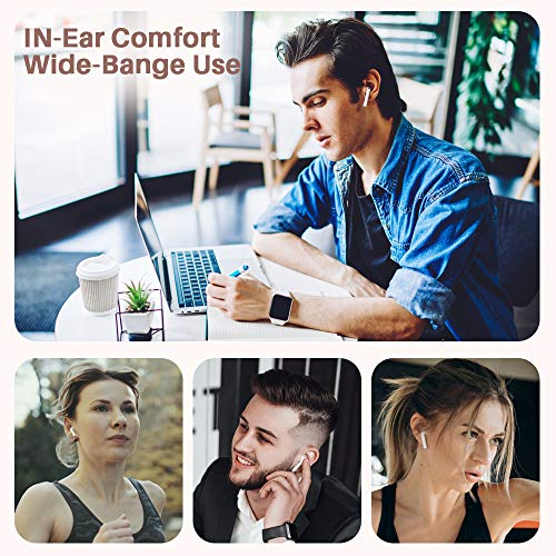 BTTB Bluetooth Headphones Wireless Earbuds Earphones in-Ear for Sport Bluetooth 5.0 Earphones Stereo Sound Noise Cancelling 2 Built-in Mic Earphones-White9