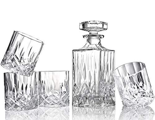 ELIDOMC 5PC Italian Crafted Crystal Whiskey Decanter & Whiskey Glasses Set, Crystal Decanter Set With 4 Whiskey Glasses, 100% Lead Free Whiskey Glass Set by E (Image #1)