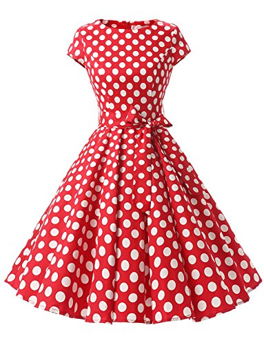 Dressystar DS1956 Women Vintage 1950s Retro Rockabilly Prom Dresses Cap-Sleeve XS Red White Dot B