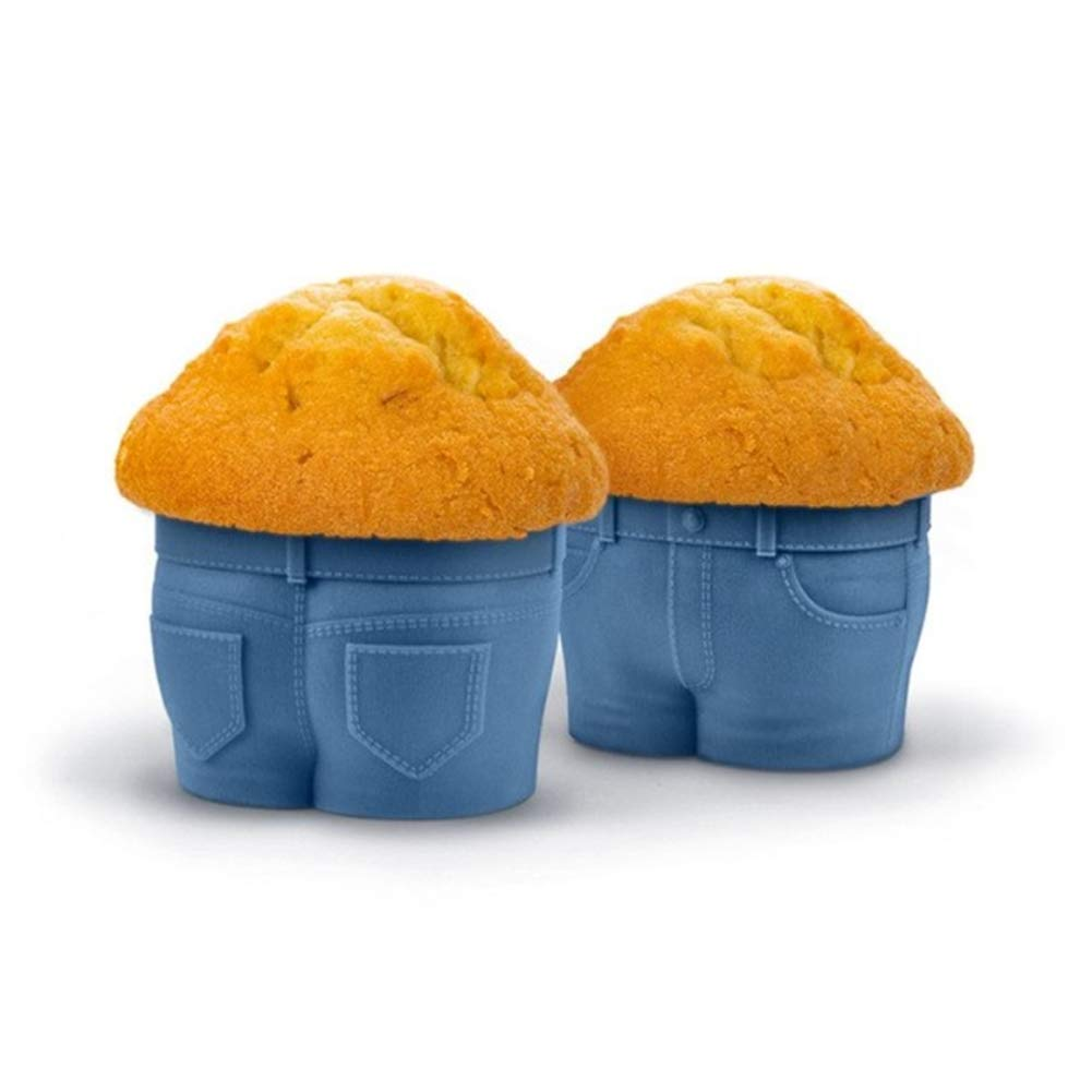 4PCS/Set Creative Jeans Style Cake Moulds Cupcake Pants MUFFIN TOPS Baking Cups Unique Kitchen Gadgets kangxiaoyan
