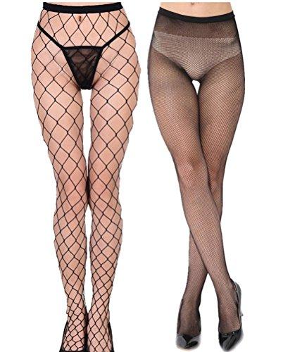Senchanting Women Hot Chic Vintage Black Big Cross Fishnet Tights Seamless Nylon Large Mesh Stockings Pantyhose(Big+Small Plaid) (Black Diamond Net Tights)