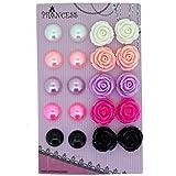 Faux Pearl & Rose Flower Clip On Earrings For Little Teen Girls Womens Gift