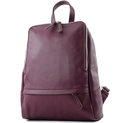 Bordeaux Backpack Red Backpack modamoda de Citybag Rucksack ital Leather Ladies T138 Bag Leather wXwq4ZgP