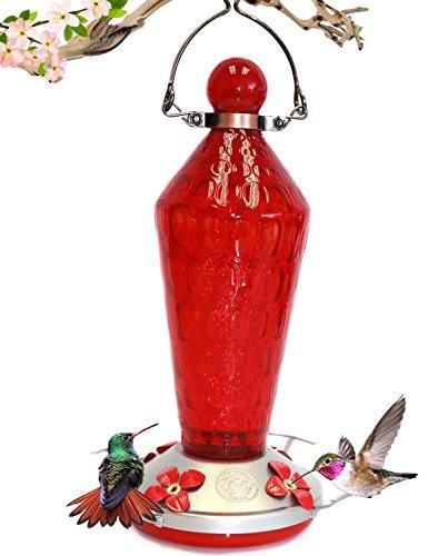 Brushed Metal Hummingbird Feeder - Grateful Gnome - Hummingbird Feeder - Hand Blown Glass - Red Wand With Metal Clamp Hanger - 24 Fluid Ounces