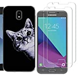 Samsung Galaxy J3 2018 Case with 2 Pack Glass Screen Protector Phone Case Clear Soft TPU with Protective Bumper Cover Case for Galaxy J3 Achieve J3 Star Express/Amp Prime 3 J3 V 3rd Gen-Two Unicorns