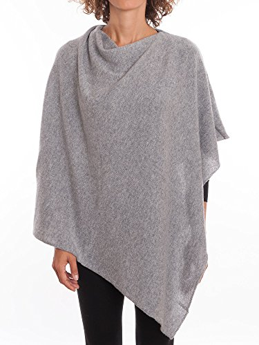 DALLE PIANE CASHMERE – Poncho 100% Cashmere – Made in Italy, Color: Grey, One Size