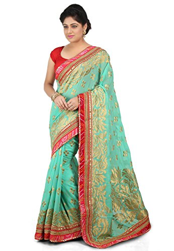 Banarasi Georgette Saree in Sea Green - Banarasi Georgette