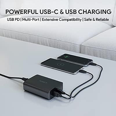 Aukey - Cargador USB C con 60 W Power Delivery 3.0 & 2 Puertos Fuente de alimentación USB para MacBook/Pro, DELL XPS,Samsung, Google Pixel, iPhone ...