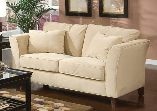 Coaster Park Place Transitional Cream Cappuccino Love Seat with Flair Tapered Arms and Accent Pillows