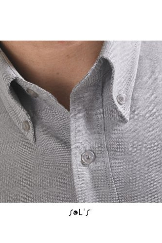 SOL´S - Herren Oxford-Kurzarmhemd Brisbane 3XL,Silver